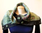Nuno felted merino wool collar with felted buttons