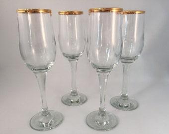 Set of 4 Gold Rim Stemmed Glasses, Goblets, Drinking Glasses 8 oz.