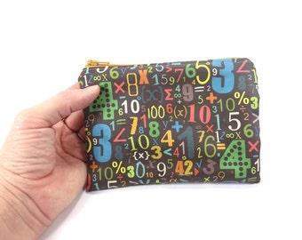 Math Zipper pouch, colorful math symbols cotton change purse, wallet, coin pouch