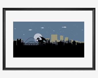 Newcastle Skyline print, The Dragon, Newcastle art, Newcastle print, Newcastle poster, Newcastle England, Dragon art, Dragon print, nursery