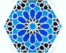 Blue and White Tiles - Moroccan Tiles - Hand Painted Tiles - Kitchen Backsplash Tiles - Ceramic Tiles - Hexagonal Tiles - Moroccan Trivet