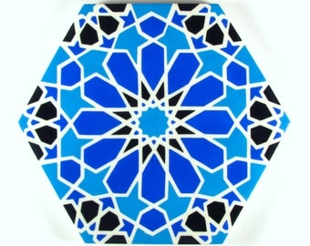Blue and White Tiles - Moroccan Tiles - Hand Painted Tiles - Kitchen Backsplash Tiles - Ceramic Tiles - Hexagonal Tiles - Moroccan Trivet