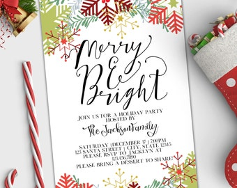 Holiday Party Invitation - Merry and Bright Christmas Invite - Yule - Winter Snowflakes - Wedding Rehearsal - Printable or Printed - 4x6