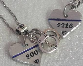 Thin Blue Line Necklace - Law Enforcement - Police Wife Necklace- Police Wife - Police Jewelry - Police Officer - Badge Number Necklace -LEO