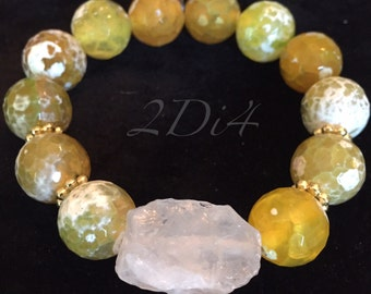 Yellow Fire Agate Bracelet