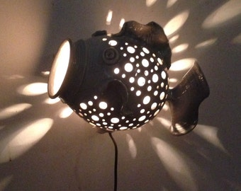 Hand Crafted Ceramic Wall Fish Lamp