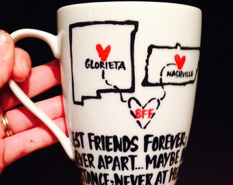Best friend distance mug- states bff mug anniversary valentines day state mug city mug- Mother's Day gift- Gifts for Mom- Gifts for Sister