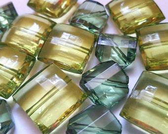 Green Plastic Beads - Square