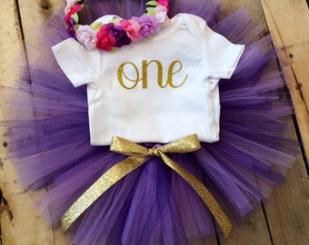First Birthday Outfit Girl, Purple  and Gold Girl, Purple Baby, Smash Cake Girl, 1st Birthday Girl Outfit, Girl First Birthday Outfit,Ribbon