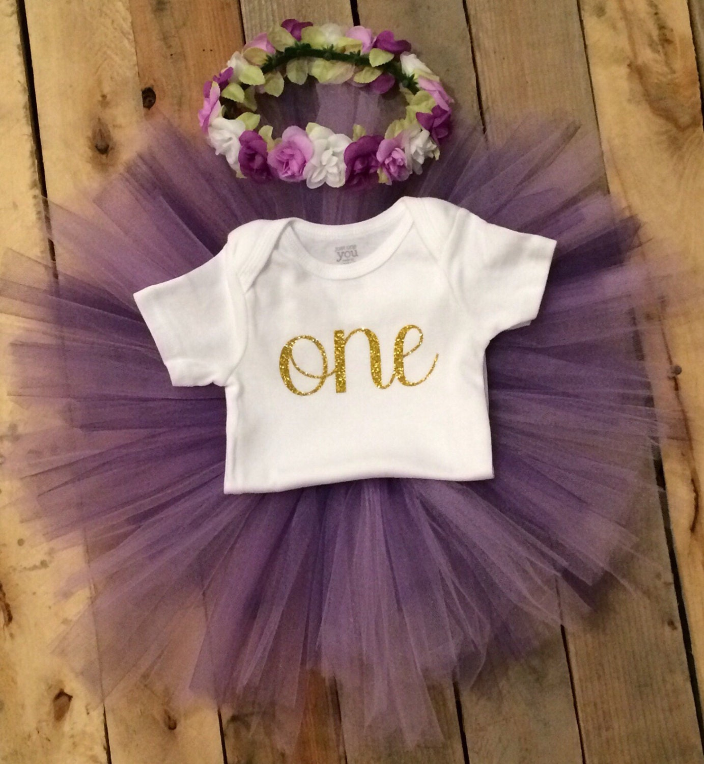 Birthday Party Outfit: First Birthday Outfit Girl Purple And Gold Girl Purple