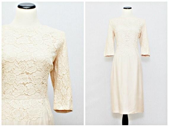 50s Blush Ecru Lace Courthouse Wedding Dress - Vintage 1950s Cocktail Dress