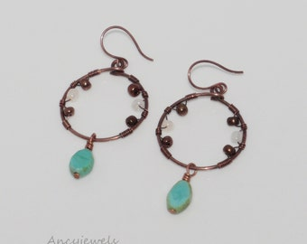 Earrings copper and glass beads