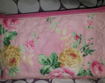 Makeup, Cosmetic, Zippered bag, Pink, Flowers, White, Green, Made in Michigan