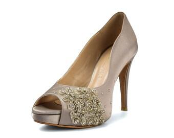 Charlotte Silver Wedding Heels,  Diamante Wedding Shoes, Swarovski Silver Wedding Heels, Silver Diamonds Bridal Heels, High Heel Shoes