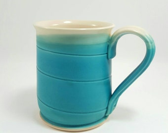 Handmade pottery Mug ceramic - handmade turquoise blue pottery ceramic coffee mug, white glaze inside.