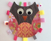 Unique baby girl gift - Owl Tag Toy - Unique gift - Pink and Grey - by Permanent Kisses