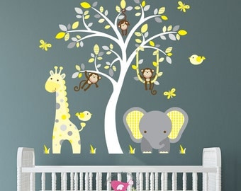 Safari Decal, Yellow and Grey nursery decor, cheeky monkey, giraffe, baby elephant, white tree mural. Gender Neutral Wall Stickers, lemon