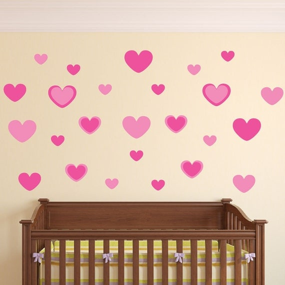 Items similar to heart wall decal wall stickers for girls for Room decor etsy