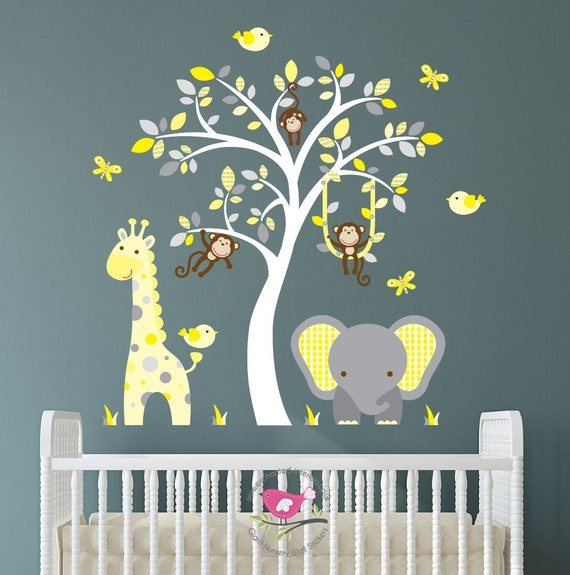 Safari Nursery Decor Jungle Theme Nursery Nursery Artwork: Safari Decal Yellow And Grey Nursery Decor Cheeky Monkey