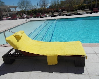 Sun Towel/Yellow Personalized Beach/Pool Lounge Chair Cover Up Towel/Valentineu0027s  Gift