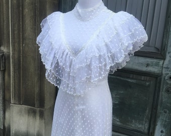 Vintage 1980s Victorian Style Dotted Swiss Wedding Dress