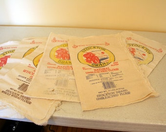 Stockton Brand flour sack collection- set of 7 vintage cloth bags