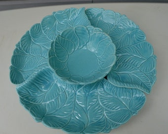 SALE -Vintage Calif. Pottery No. 90 Blue Leaf Design Lazy Susan