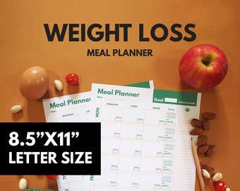 Weight Loss Meal Planner Printable, Diet Planner, Weekly, Groceries list, Goal Planner, Healthy Planner, Calories tracker, PDF, GetWellPlan