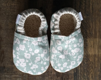 12-18 month Mint Flowers Booties