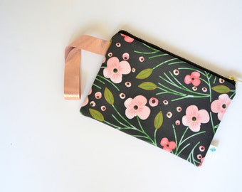 Black Floral Wristlet, Black Evening Bag, Floral Bridesmaid Gift, Black Wedding Clutch, Pink Bridal Clutch Rose Gold Clutch Purse Black