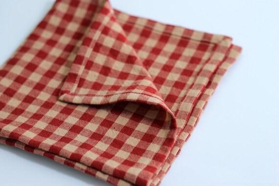 Country check homespun napkins, rustic farmhouse napkins, red check cotton homespun napkins, made to order napkins, primative napkins
