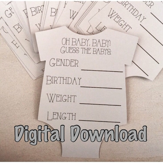 Baby shower games baby shower game baby stats guess the due for Guess the baby weight template