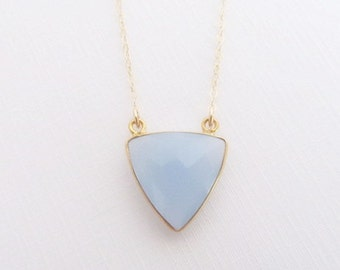 Blue Chalcedony, 14kt Gold Filled Necklace, GEmstone Necklace, Gift for Her