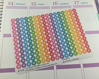 Mini Asterisk Circle Planner Stickers, Rainbow Sticker,Checklist, Reminder, Icon Sticker, Erin Condren, Plum Paper, MAMBI, planner accessory