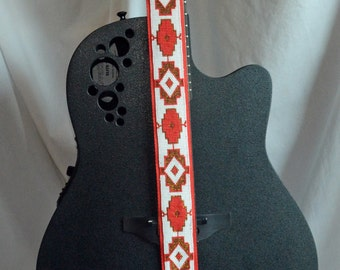 Ukulele Strap Guitar Strap Red, White, Gold Native American Inspired Hand Beaded