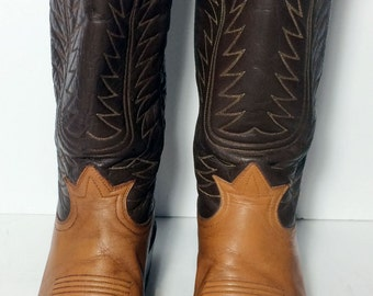 JUSTIN Brown Black Lizard Leather Western Cowboy Boots Men's Size 9.5