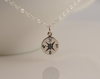 Compass necklace. Sterling silver compass necklace