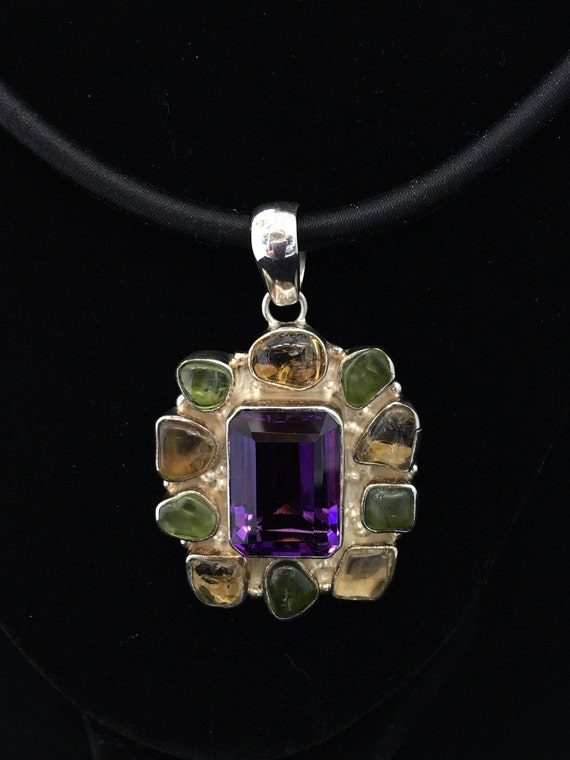Awesome Faceted Amethyst with Citrine and Peridot. Sterling Silver Pendant