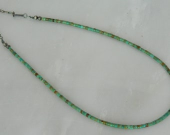 Native American Santo Domingo Green Turquoise Heishi Sterling Bead Necklace 16-18 1/2