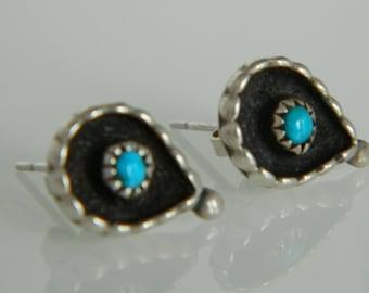 Native American Navajo Turquoise Sterling Silver Teardrop Post Earrings