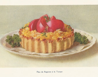 Flan de Rognons a la Turque 1920 Tomato Salad Kitchen Print Antique French Print Cookery Food print Wall Art Home Decor Vintage Print
