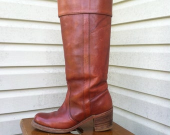 1960's Frye knee high brown campus boots/60's brown Frye pull on boots/60's brown Frye boots black lable 7.5