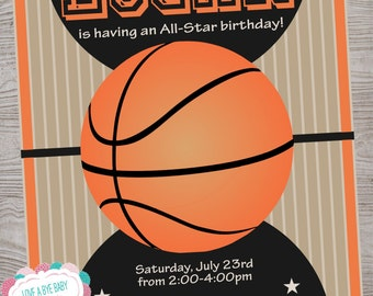Basketball Hoops birthday party invitation. printable. digital download