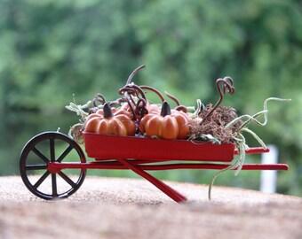 Miniatures Wheelbarrow with Pumpkins