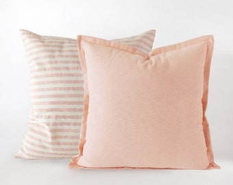 Set of 2, a light pink striped and a plain pillow cover in 16x16 inches - 18x18 inches - 20x20 inches, pink indoor and outdoor decor