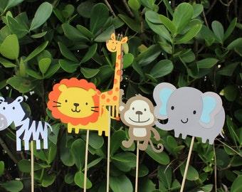 Safari Animals Centerpiece Stick~set of 5~jungle party~safari party