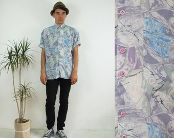 80's vintage men's purple-gray abstract patterned shirt