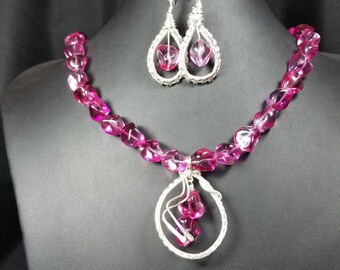 Hot Pink Nugget Beads and Wire Wrap Pendant