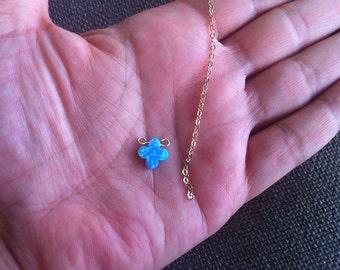 Clover Pendant / Clover Charm / Four Leaf Clover / Lucky Clover / Opal Pendant / Opal Bead / Blue Opal / Opal Clover / Gemstone Beads / 1 pc