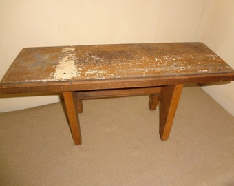 Vintage Rustic Shabby Wood Wooden Display Or Doll Bench 22 1/4 x 7 3/4 x 9 3/4 Inches